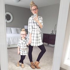 -Mommy and Me Fashion - meadoria Mom Daughter Matching Outfits, Mom And Son Outfits, Mother Daughter Shirts, Matching Family Outfits, Kids Outfits, Mother Daughters, Moda Kids, Kind Mode, Swagg
