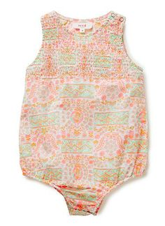 100% Cotton romper. Features shirring on upper body. Snaps on baby's left should & in gusset. Features all-over boho print with fluro accents. Available in colour shown.