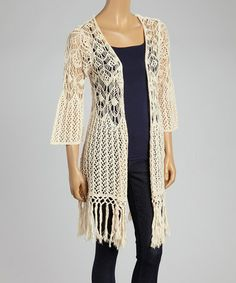 Love this Natural Crocheted Fringe Open Cardigan by Blu Pepper on #zulily! #zulilyfinds