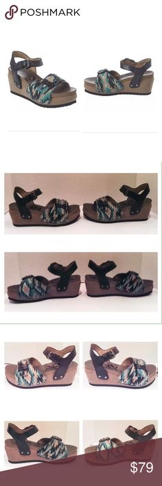 """OTBT Danbury Leather And Fabric Wedge Sandal OTBT Danbury camo leather and fabric wedge sandal.  Sizes 8 and  8.5.  New with box.  Brushed nickel hardware.  Lightly padded synthetic insole.  Rubber sole.  2.5"""" heel.  1.5"""" platform.  No trades. OTBT Shoes Sandals"""