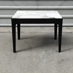 Calacatta marble and torched Tasmanian oak side table