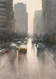 Melbourne Reflections - Watercolor by Joseph Zbukvic