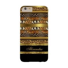 Elegant Wild Mixed Animal Black and Gold Barely There Iphone 6 Plus... (66 CAD) ❤ liked on Polyvore