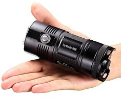 Nitecore Tiny Monster TM06         They call this tactical flashlight the Tiny Monster because it fits in your hand but blasts a blindingly bright 3800 lumens, making it ounce-for-ounce the smallest & most powerful light available. It offers variable brightness, Strobe Mode for emergencies, and an SOS Signal Mode. It's also submersible to 2 meters.  $200.