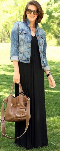Outfit Post Black Maxi Dress Jean Jacket I Love This