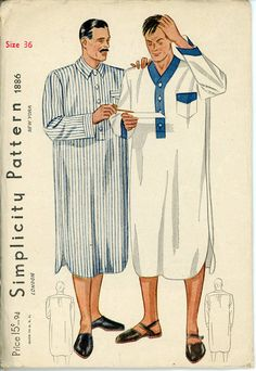 Mens 1930s Nightshirt Pattern Simplicity 1886