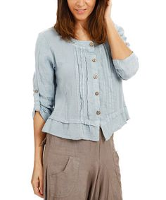 Another great find on #zulily! Sky Blue Lace-Accent Ruffle-Hem Button-Up Linen Tunic - Plus #zulilyfinds