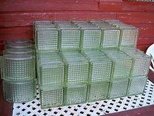 83 ART DECO CROSS RIBBED GLASS BRICKS/BLOCKS, INCLUDES CURVED CORNER BLOCKS