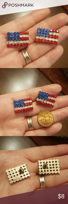 "PATRIOTIC EARRINGS Just shy of 1"".  U.S. flag crystal earrings.  Like new or new.  Silver toned hardware. Jewelry Earrings"