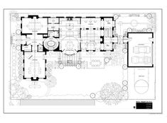 Courtyard House Plans, House Floor Plans, Vintage House Plans, Luxury House Plans, Luxury Homes, Architecture Design, Overhead Projector, Layout, Contemporary Homes