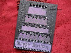 Gothic Happy Birthday Greeting Card - Black & Purple Goth Cake