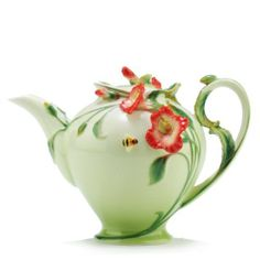 Sorelle Raised Porcelain Hibiscus Tea Pot: Kitchen