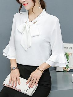Buy Tie Collar Bowknot Plain Bell Sleeve Blouse online with cheap prices and discover fashion Blouse Dress Neck Designs, Blouse Designs, Cheap Maxi Dresses, Nice Dresses, Bell Sleeve Blouse, Bell Sleeves, Mode Hijab, Blouse Outfit, Trendy Tops