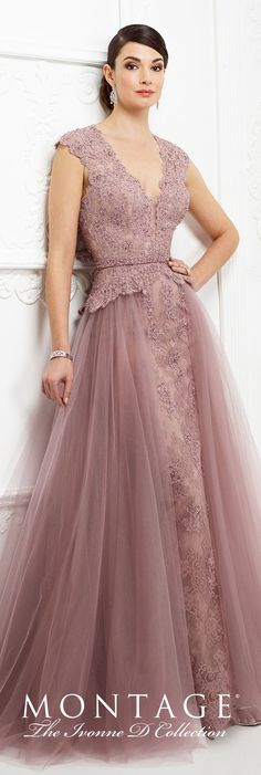 Couture Ivonne D Mother of the Bride Dresses 2019 for Mon Cheri- Formal Evening Gowns by Mon Cheri – Fall 2017 – Style No – pink topaz lace evening dress with tulle overskirt and cap sleeves Modest Dresses, Elegant Dresses, Nice Dresses, Bridesmaid Dresses, Prom Dresses, Evening Gowns With Sleeves, Lace Evening Dresses, Mom Dress, Pink Dress