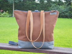 Waterproof Backpack grey and camel canvas bag with by skbag
