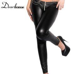 Dear lover Black Women Pants Summer 2017 Wet Look Zipper Faux Leather Leggings LC79622