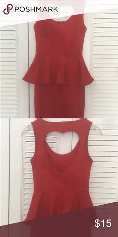 Red Peplum Cutout Heart Dress Worn only a few times in great condition PacSun Dresses Mini