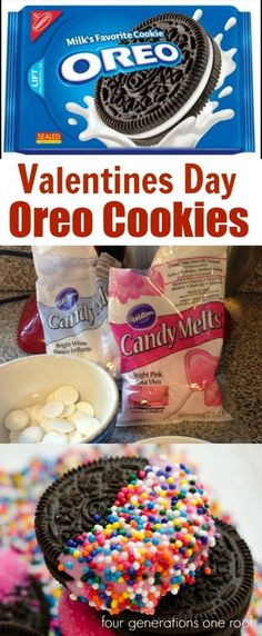 How to make Valentines Day Oreo Cookies dipped in White Chocolate. Easy and perfect for a kids party at school. by Four Generations One Roof
