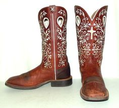 20d41cb99b29 Twisted X Womens Cowboy Boots Brown leather White Cross size 9 B western  wear