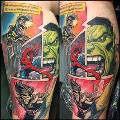 A Marvel comic-book strip. - Marvel Tattoos That'll Make You Want to Be a Superhero - Photos Marvel Tattoos, Batman Tattoo, Avengers Tattoo, Star Tattoos, Body Art Tattoos, Sleeve Tattoos, Tatoos, Creative Tattoos, Great Tattoos