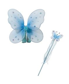 Blue Fairy Wings and Wand Fairy Party Costume As Girls Birthday Gifts