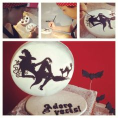 Naked cake, witch, moon, bats, painted cake, free hand design, Confiserie de Lu
