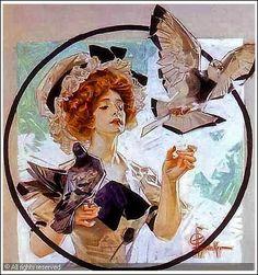 Woman w Doves JC Leyendecker