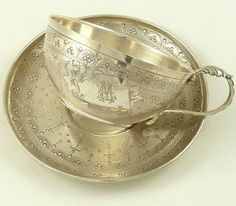ANTIQUE FRENCH STERLING SILVER CHOCOLATE CUP TEA CUP SAUCER, BOIVIN.