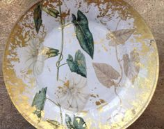 Hand Crafted Decoupage Plate, Morning Glory, Botanical