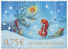 This Christmas stamp features the artwork of Kristina Segercrantz, famous for several award-winning book illustrations. Christmas Art, Vintage Christmas, Commemorative Stamps, Postage Stamp Art, First Day Covers, Small Art, Tampons, Pretty Cards, Stamp Collecting