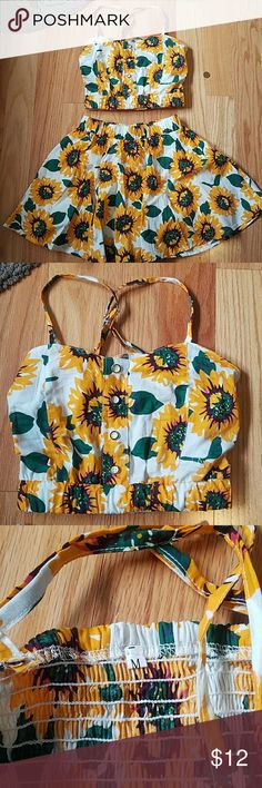 Sunflower two piece set Received in poshmark trade but i do not like the way it looks on me. Elastic waistband on both pieces. Size xs-med. Make an offer ROMWE Other