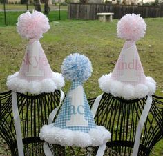 1st Birthday Party Hat Blue and white by sunshinedaydream4u, $26.95