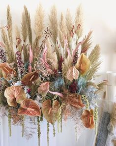 Dried Flowers Bouquet Engagement Party Decoration Ideas Wedding Gift F – olivetal Deco Floral, Arte Floral, Floral Style, Floral Design, Wedding Decor, Floral Wedding, Wedding Flowers, Gold Wedding, Bohemian Style Home