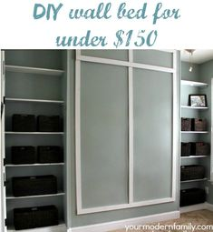 DIY wall bed for $150 with built in shelving.  (instructions in post)