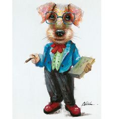 Professor Dog: 28 x 40-Inch Wall Art