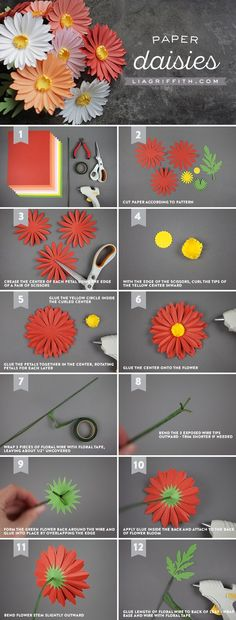Simple Paper Daisies - www.liagriffith.com #diyinspiration #diyproject #diyprojects #diyidea #diyideas #paperflower #paperflowers #paperart #papercut #madewithlia