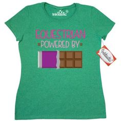 Inktastic Equestrian Funny Gift Women's T-Shirt Horseback Riding Hobby Humor Powered By Chocolate Horses Hobbies Clothing Apparel Tees Adult Hws, Size: XL, Green