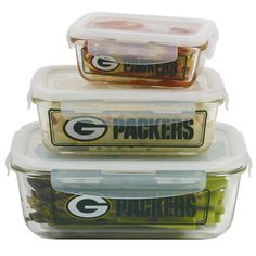 Green Bay Packers Glass Food Container Set at the Packers Pro Shop http://www.packersproshop.com/sku/2013180100/