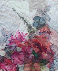 Juanita by Judy B Dales: 11 x 8.5 inches. Collage of chiffon and tulle, machine appliquéd and quilted
