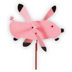 "Flying Pig Whirly Bird / Whirligig Wind Spinner | Dress The Yard The Flying Pig Whirly Bird is the perfect finishing touch for your yard. You've heard the term, ""When Pigs Fly"", well, now you can make it come true... almost... when the wind is blowing this colorful pig will certainly look like he is taking off for the blue yonder! Buy this Flying Pig today, and when your friends tell you, ""When Pigs Fly"" you can point to this pig and say, ""There he goes""!"