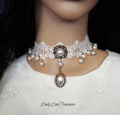 Bridal Gothic Victorian White Pearl Choker Necklace, White Lace Pearl Choker, Gothic Bridal Choker,