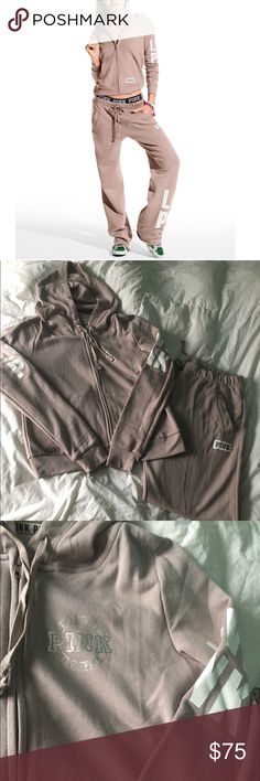 """NWOT VS PINK Hoodie & Pants Brand new, never worn. Boyfriend style pants. The color is called """"Lavendar Rain"""". It's almost like a  light purpley - beige. I ordered this online at VS so it didn't come with tags. Lost my invoice to return (because I didn't love the color on me) so I'm just trying to recoup my cost. Hoodie & pants are both size Large. PINK Victoria's Secret Pants Track Pants & Joggers"""