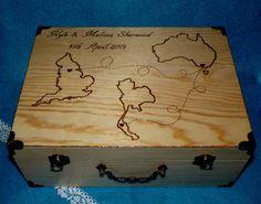 Destination Wedding Map Trunk Wood Burned Wedding by HillsideBees, $115.50