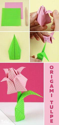 Kostenlose Anleitung - Origami Tulpe falten - Talu.de