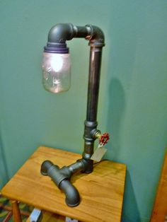 Black iron pipe lamp with mason jar globe and FAUCET by TeslaLamps, $170.00