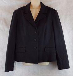 Talbots Sz 14 Suit Jacket 3-Button Blazer Black Lined Womens #Talbots #Blazer