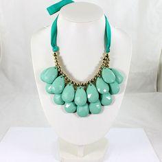 Mint Green Blue Bib NecklaceBlue Bubble Necklace by EllenJewelry, $14.90