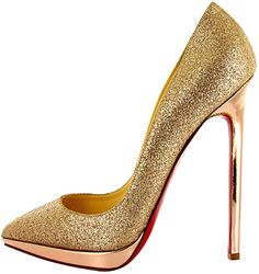 Christian Louboutin Gold Glittering Pigalle Plato Stiletto Pumps Spring 2011 #CL #Louboutins #Shoes