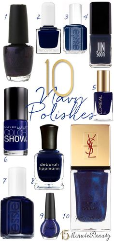 It's harder than you think to find a great navy nail polish! These are my favorites. They're just the right deep shade, blue but not black. Navy Nail Polish, Nail Polish Colors, Nail Polishes, Essie, Jin, Deborah Lippmann, How To Do Nails, Fun Nails, Maybelline