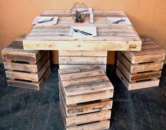 Repurposed pallet dining table - porch                                                                                                                                                                                 More